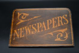 A 1950's vintage hand painted wall hanging newspaper pouch. H.23 W.36cm