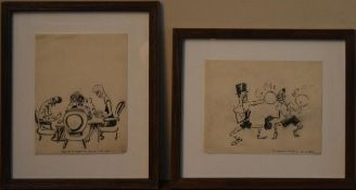 A framed and glazed French ink cartoon and another similar, both inscribed. H.42 W.36cm (tallest) (