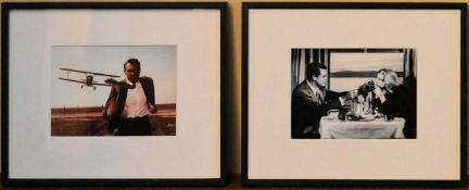 A pair of framed movie stills from North by Northwest with Cary Grant and Eva Marie Saint. H.26 W.