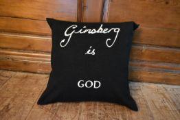 A Bella Freud Ginsberg is God cushion. H.43 W.40cm