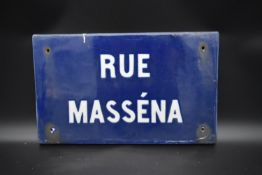 A vintage French ceramic street sign for Rue Massena. H.29 W.48cm