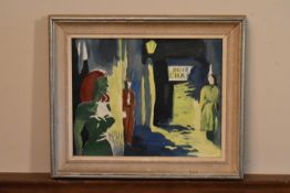 A framed oil on canvas, mid century Expressionist style study, indistinctly monogrammed AS and