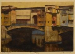A gilt framed and glazed oil on card, Ponte Vecchio, indistinctly signed and dated. H.45 W.55cm