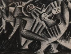 A framed and glazed crayon study on paper, abstract figural composition, unsigned. H.50 W.60cm