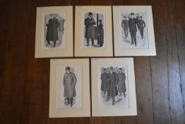 A collection of five C.1910 mounted prints showing gentleman's fashion of the period. H.40 W.31.