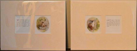 A pair of mounted lithographs featuring Beatrix Potter's Mr Jeremy Fisher. H.24 W.32cm (2)
