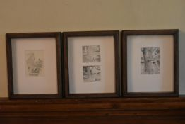 A set of 1940's vintage framed and glazed Winnie the Pooh prints each with a certificate of