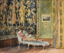 An oak framed and glazed watercolour, woman reading on a chaise in a grand interior, unsigned. H.