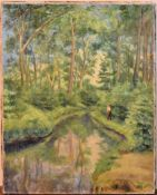 An oil on canvas, Riviere au Soleil, signed A Huyot and signed, dated and inscribed to the