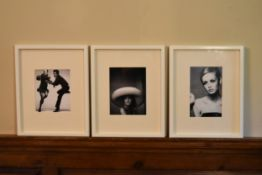A pair of photographic reproductions of Twiggy photographed by Stephen Meisel and Simon Traegar. H.