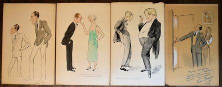 After Georges Goursat, four hand coloured vintage prints. H.50 W.33cm (4)