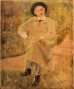 An unframed oil on panel, an artist at work, inscribed d'Audrey to the reverse, indistinctly