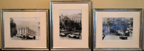 Three framed and glazed photographic copies of mid century Monaco Grand Prix featuring Fangio, Jim
