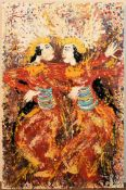 An unframed oil on canvas, dancing couple in traditional dress, indistinctly signed. H.60 W.40cm