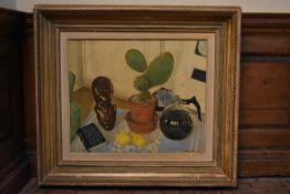 A framed oil on canvas, still life signed Simon Vieyra. H.80 W.90cm