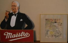 A pastel sketch of a cafe scene and a vintage advertising stand for Maestro cigars. H.44 W.37cm (2)
