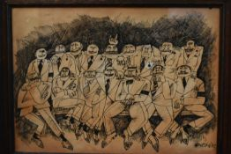 Enzo Apicella, ink and wash on paper, cartoon study of a group pose, signed. H.42 W.56cm