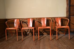 A set of four painted vintage Industrial style armchairs with slatted seats. H.75 W.42 D.40cm