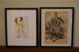 A watercolour fashion design sketch along with a scrap of fabric, indistinctly signed and a