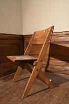A vintage oak folding child's seat. H.76 W.45 D.33cm