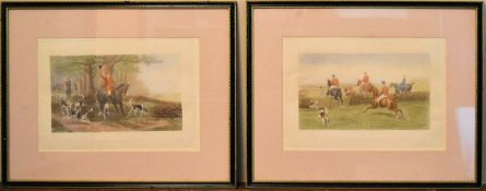 A pair of framed and glazed 19th century hunting prints, A View Halloo and At High Pressure, printed