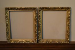 A pair of late 19th century giltwood and gesso picture frames with floral decoration. H.40 W.32cm