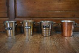 A collection of four various vintage silver plated champagne buckets. H.20cm Dia.20cm (4)