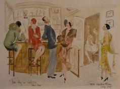 """After Georges Goursat, watercolour, """"bar chez un couturier"""", Paris 1920, indistinctly signed. H.50"""