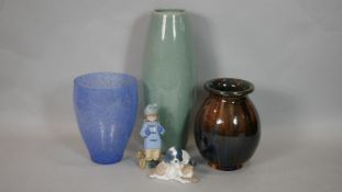 Two Art pottery ceramic vases (one French), a hair bell blue and while marbled Art Glass vase and