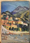 Maurice Tisseyre (1920-2017), an unframed oil on canvas, South of France beach scene, signed with