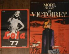 Two vintage French movie posters; Mort, ou est ta Victoire and Lola 77. H.77 W.57cm (largest) (2)