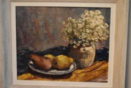 A framed oil on board, still life flowers and fruit, unsigned. H.54 W.64cm