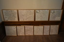 A set of ten 20th century framed and glazed hand coloured engraved maps of various wine regions of