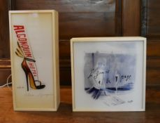 A boxed Dada light, Algonquin Hotel and another similar, la Femme a la Page. H.38 W.17 D.10cm (