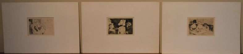 A folder containing three late 19th century French etchings, figures in evening dress. H.30 W.