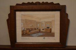 Jean Fressinet (1889-1972) a watercolour in oak Art Deco frame, Chambre studio chez Mr le Comte de