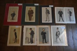 Nine original Vanity Fair prints, various figures, three mounted and in wallets, three in wallets