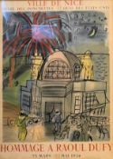 An original exhibition poster from 1954, hommage a Raoul Dufy, glazed and in gilt frame. H.75 W.56cm
