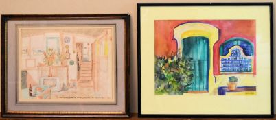 A framed and glazed coloured pencil sketch of an interior, bears inscription and a watercolour,