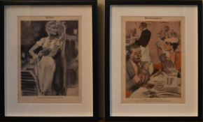 A pair of framed and glazed prints of German newspaper cartoons; Bewirtungsspesen and Im Park. H.