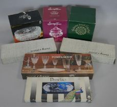 A collection of boxed glass and crystal. Including two boxes of Pompadour crystal glasses, a crystal