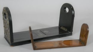 A Victorian brass mounted adjustable book slide and an Italian inlaid olivewood example. H.18cm