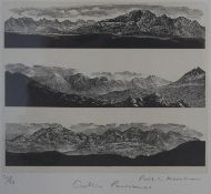 A framed and glazed signed woodcut by Paul L. Kershaw, titled 'Cuillin Panoramas', edition 31/50 H.