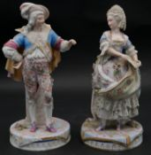 Two C.1900 Meissen style hand painted porcelain figures of a lady and a man in traditional clothing.