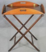 A Georgian style mahogany butler's tray on stand with quadruple hinged carrying handles. H.90 W.72