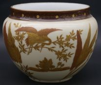 A 20th century porcelain gilded oriental planter decorated with cranes, lotus flowers and leaves,