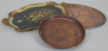 An Italian carved and gilt twin handled tray with hand decorated floral decoration along with two