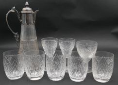 A late 19th century etched glass claret jug with silver plated collar along with various cut glass