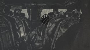 Jolan Williams, A framed and glazed wood cut titled 'Inside the Coach', signed, titled, dated 1934