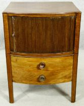 A Georgian mahogany and satinwood strung night commode with tambour fronted section above pull out